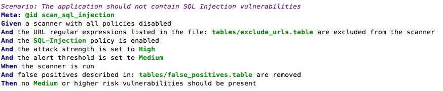 SQL injection scanning example