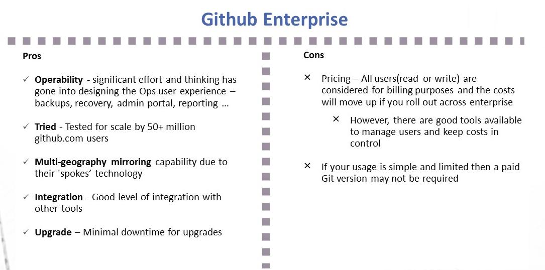 Github Enterprise pros and cons