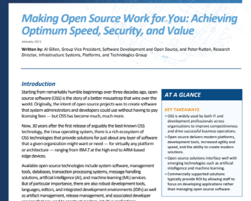 IDC Tech Spotlight: Making Open Source Work for You: Achieving Optimum Value, Security, and Productivity